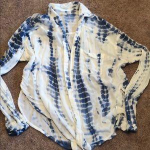 Hollister xs tie dye button down loose shirt